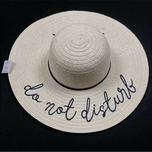 NWT do not disturb embroidered floppy sun hat chic